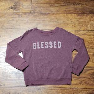 """ZOE & LIV """"BLESSED"""" Lightweight Sweatshirt Medium"""